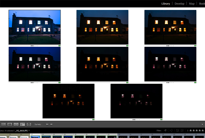Screenshot of photographs taken after to sunset to get all the lights inside the house