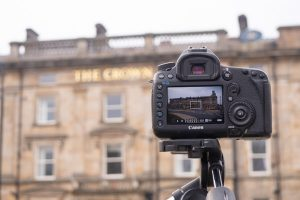 Back of camera when photographing The Crown Hotel in Harrogate